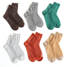 Fashion Socks Women Trendy Shiny Girls Glitter Ankle Spring Summer Thin Gauze Transparent Lady Sock Soft Comfortable