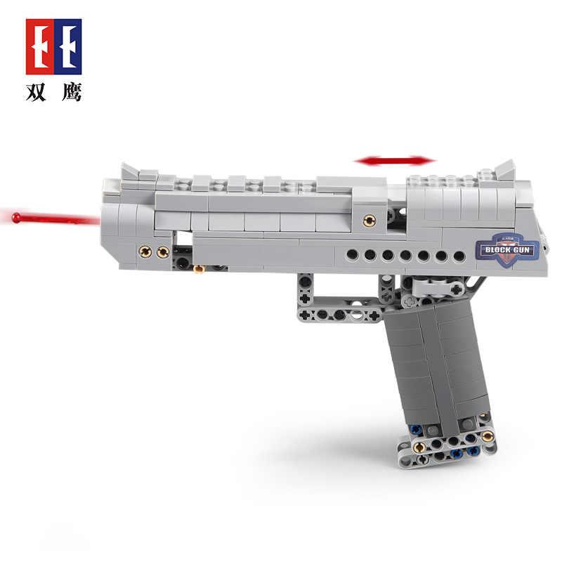 الصحراء النسر اللبنات مسدس لعبة الجمعية لعبة الادسنس مسدس بندقية يمكن إطلاق الرصاص بندقية assemable نموذج الطوب اللعب