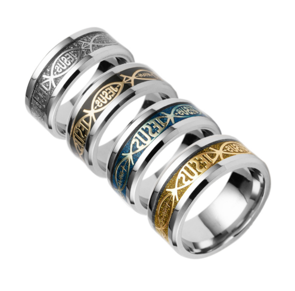 Christian Religious Style JESUS Words Fish Shaped Titanium Steel Rings US Size 6-12