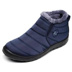 Sapatos de inverno botas de neve 2019 homens botas de neve moda homens botas de tornozelo à prova dwaterproof água sapatos de pele quente deslizamento em sapatos masculinos