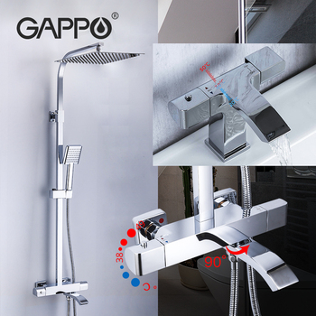GAPPO thermostatic shower sets bathroom shower faucet + Brass Basin faucet waterfall Bathtub shower system thermostatic mixer цена 2017