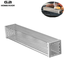 BBQ Stainless Steel Smoking Accessories Cube Pellet Roasting Box Camping Mesh Smoker Tube Box Cooking Utensil fine cooking roasting
