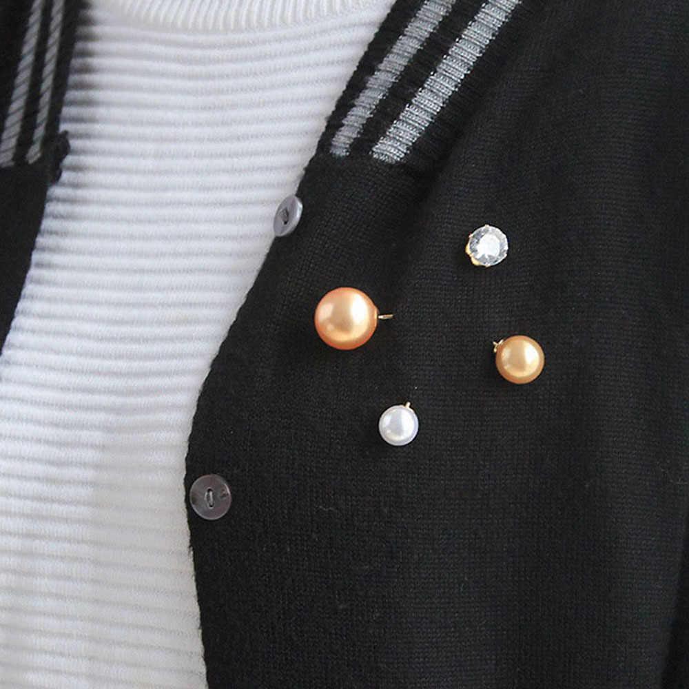 2019 Baru Fashion Disimulasikan Mutiara Berlian Imitasi Pin Bros Jarum Scarf Hijab Dress Dekorasi Perhiasan Bros untuk Wanita