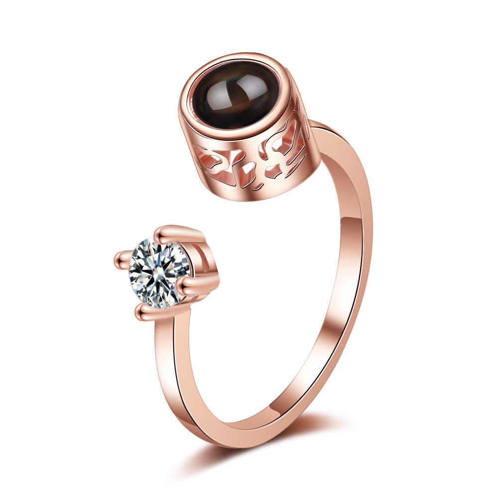 Anillo de proyección de alce de moda Vintage de anillos de flores de rosas de apertura para mujer 100 idiomas te amo anillos para regalos de mujer