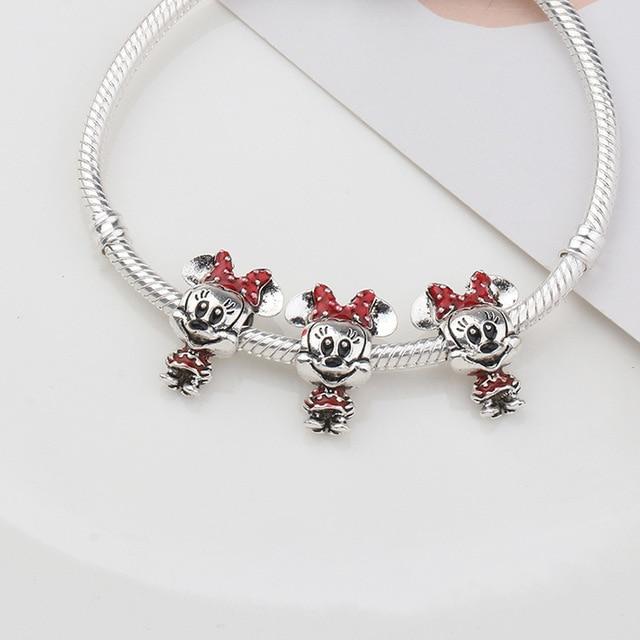 2020 New Original Alloy Bead Enamel Princess Dress Minnie Mickey Dangle Charm Fit Pandora Bracelet Bangle DIY Women Jewelry