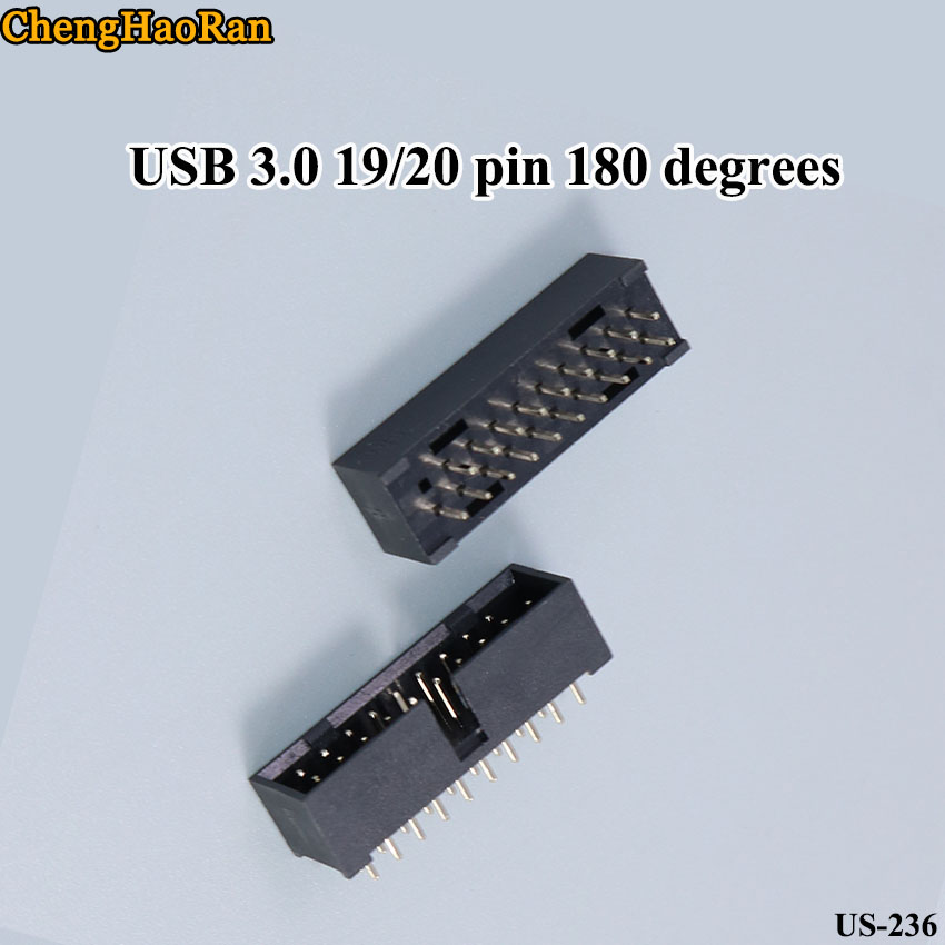 ChengHaoRan 10pcs/lot Black Simple Horn Seat Copper Needle Straight Pin ISP Download Interface USB 3.0 19/20 Pin 180 Degrees
