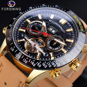 Forsining Mechanical Watches Man Clock Retro Leather Belt Date Calendar Waterproof Automatic Militray Mens Watch Erkek Kol Saati