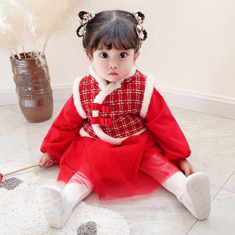 Kids Clothes Sets Plaid Velvet Winter Baby Dresses+Girls Coat 2pcs/set Children Clothing Set for New Years Christmas 0-3Y