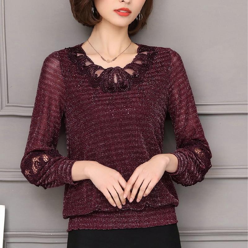 Spring 2020 Winter Plus Size Women Clothing Lace Shirt Tops Cutout Basic Female Elegant Long-sleeve Lace Blouses Shirts 5XL 952F