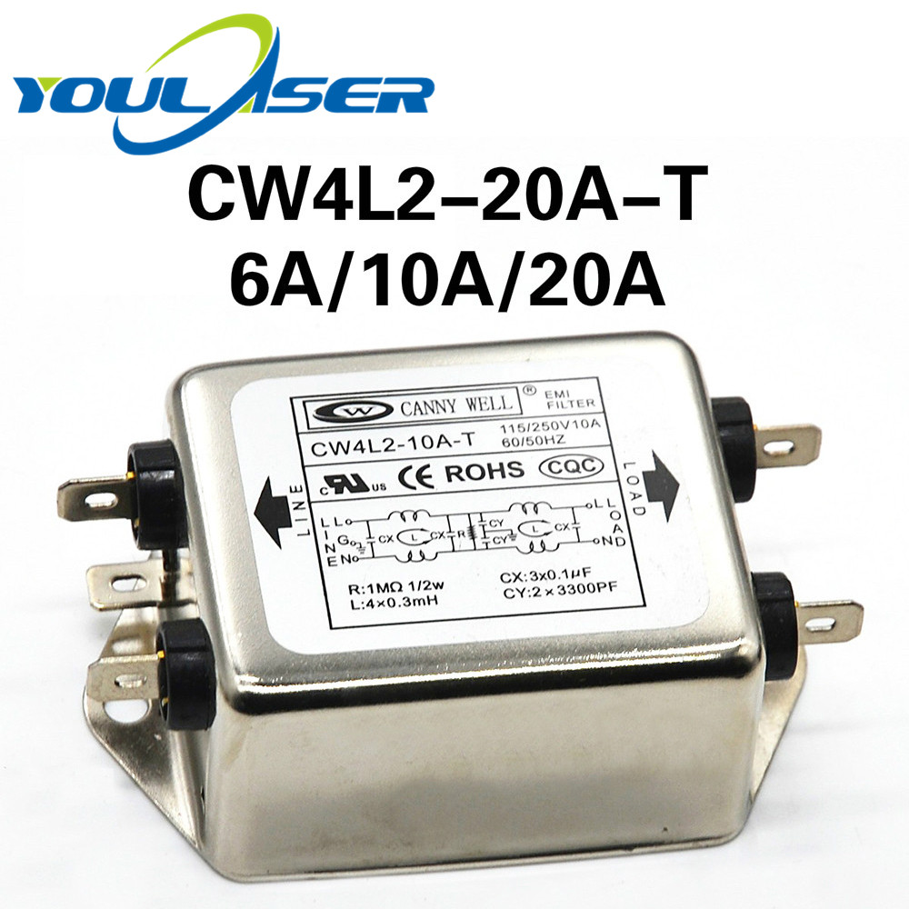 Power Filter CANNY WELL CW4L2-20A-T EMI Single-phase Double-section Power Filter CW4L2-10A -T CW4L2-6A -T Free Shipping
