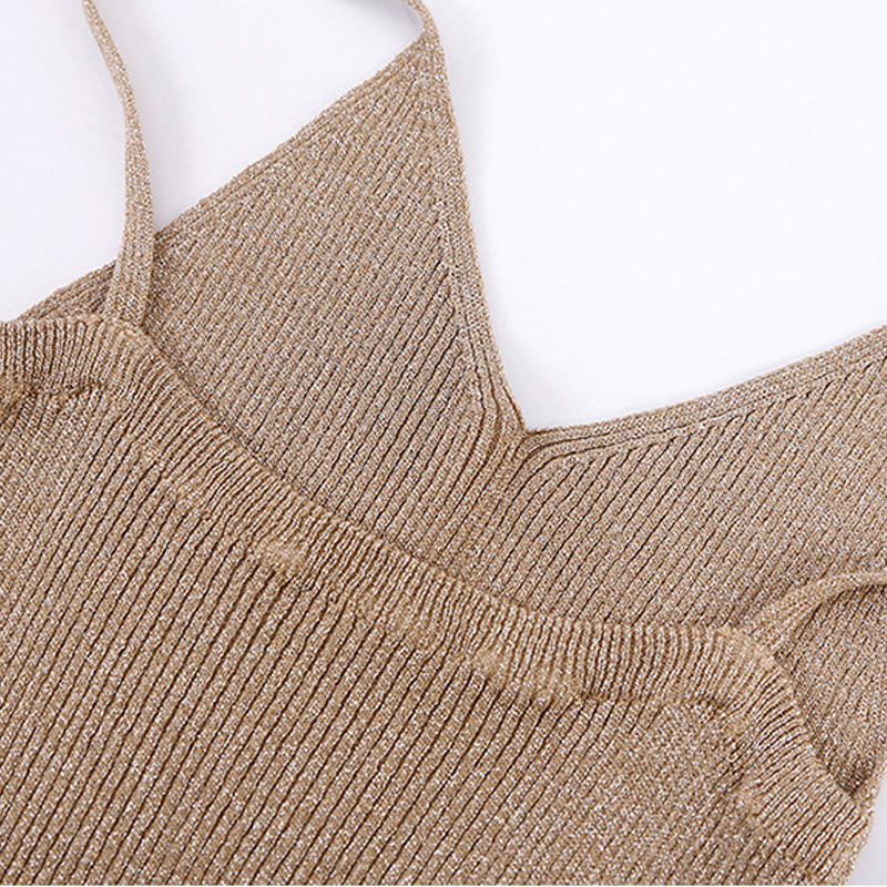 GOPLUS 2019 Spring Sexy Knitted Tank Top Women Crop top Solid Silver V Neck T shirt Female Sleeveless Vest Casual Camis Blouse in Tank Tops from Women 39 s Clothing