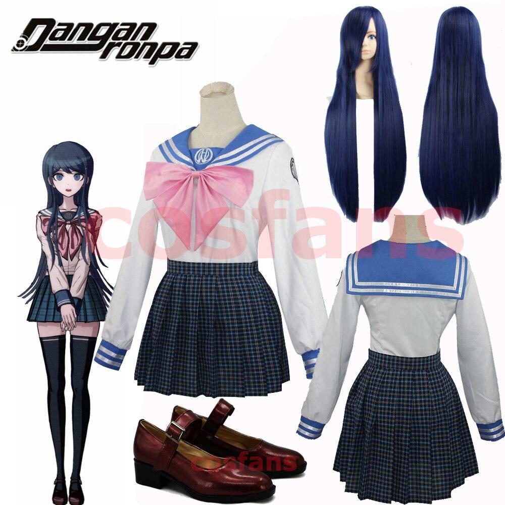 Dangan-Ronpa Sayaka Maizono Danganronpa Cosplay Costume Adult Women Summer DanganRonpa 2 Dress Girl Skirt Pink Bow-Tie Sail Suit