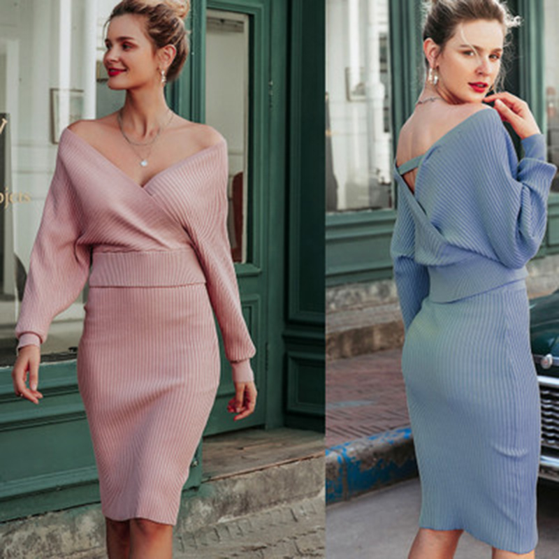 <font><b>Sexy</b></font> V-neck <font><b>Women</b></font> knitted Skirt Suits <font><b>Dress</b></font> Autumn Winter Batwing Sleeve 2 Pieces <font><b>Blue</b></font> Sweater <font><b>Dress</b></font> Female Sweater <font><b>Pink</b></font> <font><b>Dress</b></font> image