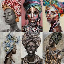African Black Woman Canvas Paintings Graffiti Art Posters and Prints Abstract African Girl on The Wall Art Pictures Room Decor