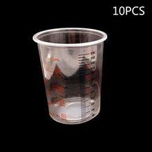 10Pcs Plastic Paint Mixing Cups 600ml Pot Calibrated Cup Set X6HB