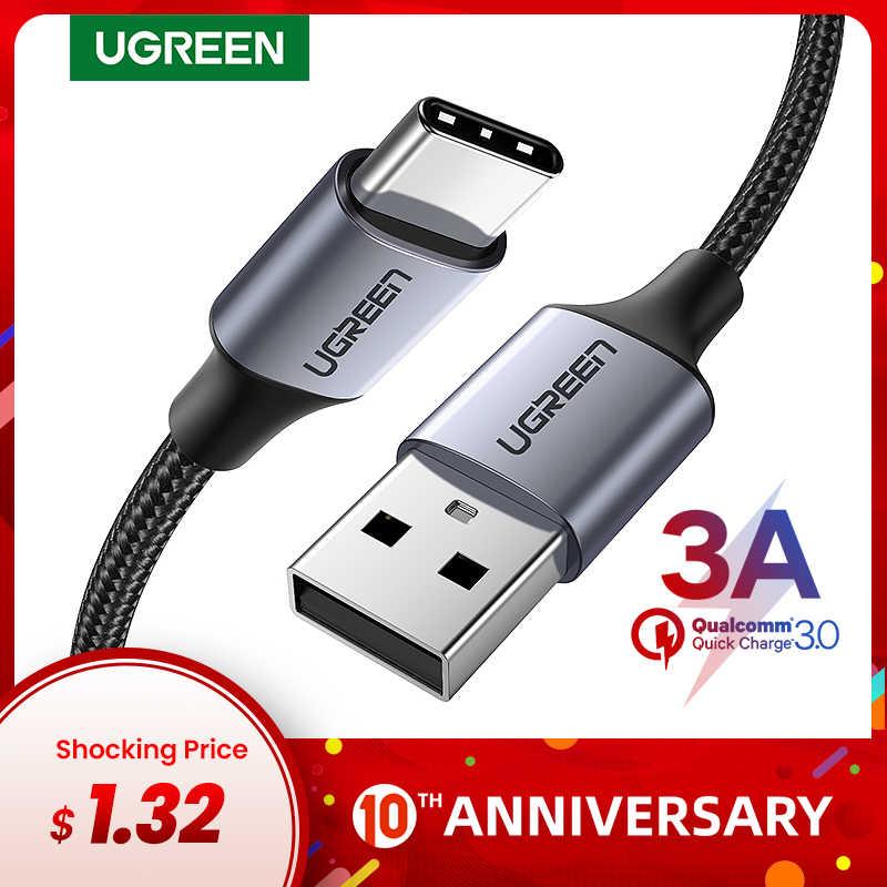 Ugreen USB نوع C كابل لسامسونج S10 S9 3A سريع USB شحن نوع-C شاحن كابل بيانات ل Redmi نوت 8 برو USB-C سلك كابو