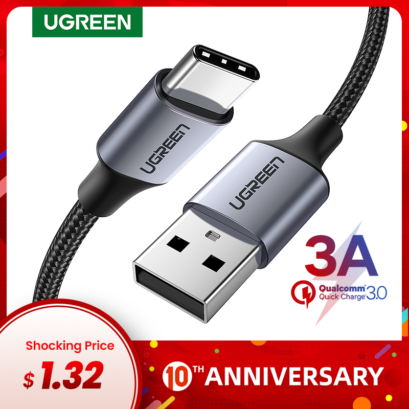 Ugreen USB Type C Cable For Samsung S10 S9 3A Fast USB Charging Type-C Charger Data Cable For Redmi Note 8 Pro USB-C Cabo Wire
