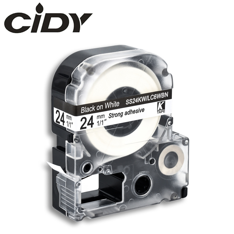 CIDY 1pcs 24mm Black On White SS24KW / LC-6WBN9 LC-6WBN LC 6WBN LC6WBN Compatible Label Tape For Kingjim Printer For LW300 LW400