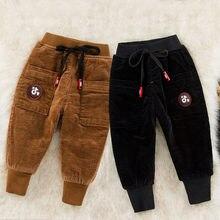 Autumn Winter Pants For Boy Thicken Pants Girls Leggings Winter Warm Plus Velvet Trousers Warm Corduroy Thick Kids Sport Pants недорого