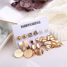 HOCOLE Fashion Geometric Gold Stud Earrings Set For Women Bohemian Statement Crystal Pearl Long Drop Handmade Jewelry