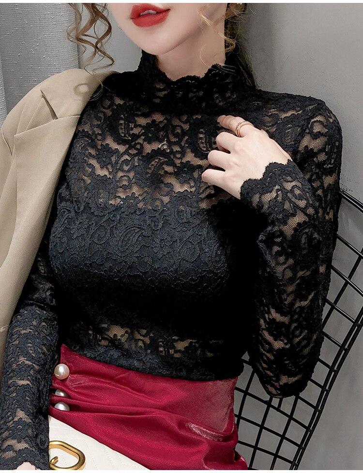 Осенняя водолазка с кружевным вырезом облегающая женская рубашка