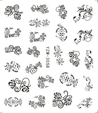 AliExpress Hot Selling Wholesale Environmentally Friendly Decal Nail Sticker Nail Ornament Black Flower YZW3058