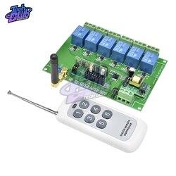 433mhz controle remoto sem fio universal ac220v 6ch rf relé receptor e transmissor para porta de garagem universal e controle portão