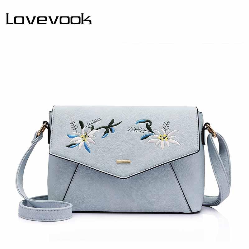 LOVEVOOK Women Shoulder Crossbody Bag With Flower Embroidery Handbag Female Messenger Bags Ladies Small Purses And Handbags 2019