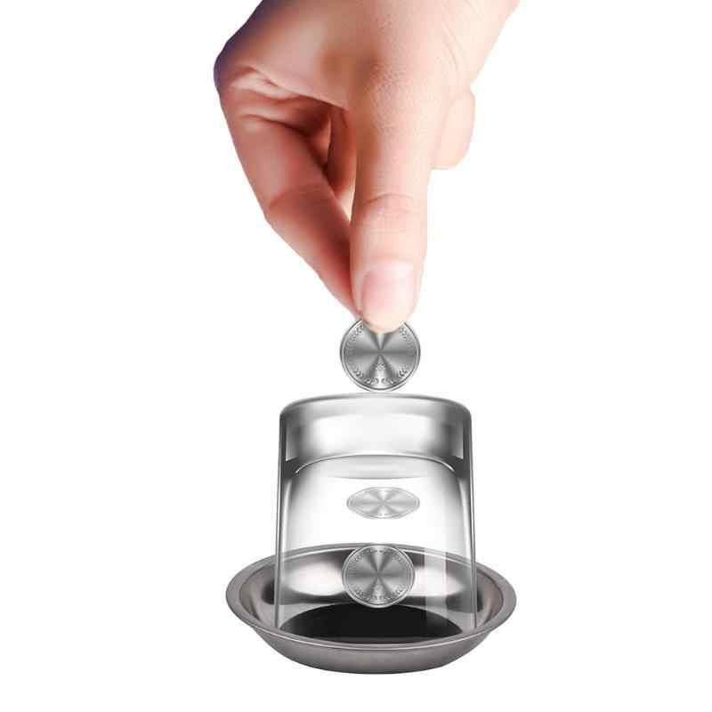 Etapa 1 Copa mágica truco accesorios moneda penetre vidrio mágico Primer plano calle clásica ilusión trucos para la venta trucchi di magia