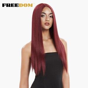 Свободная средняя часть Высокая температура волокна красный черный 26 дюймов длинные прямые натуральные волосы синтетические кружевные пе...
