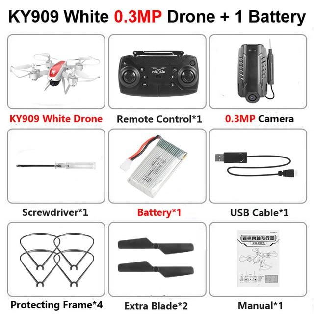 KY909 RC WiFi Дрон с 4K широкоугольной WiFi HD камерой оптический поток RC складной мини Квадрокоптер Вертолет VS LF606 E58 M69 F11 - Цвет: Black 30W Camera