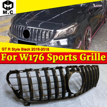 A Class W176 GT R style grille Sport A45 look A180 A200 A250 Front Bumper Grill Grille ABS black With MC/Without sign 2016-2018