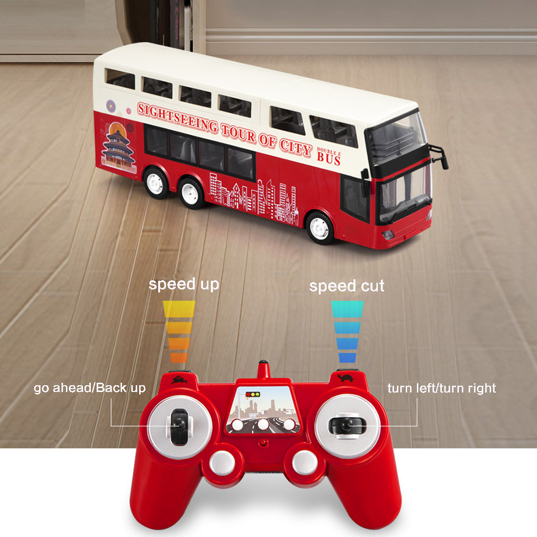 Children Simulation 2.4G Remote Control Double-decker Sightseeing Bus City DIY Bus Model Car RC Toy Gift For Birthday