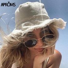 Aproms-sombreros de cubo deshilachados para mujer, gorros básicos para primavera y playa, Color caramelo, a la moda, Color gris, 2021, gorro nuevo