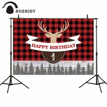 Allenjoy photographic backgrounds lumberjack first birthday pine winter buffalo plaid Christmas photocall backdrop photophone