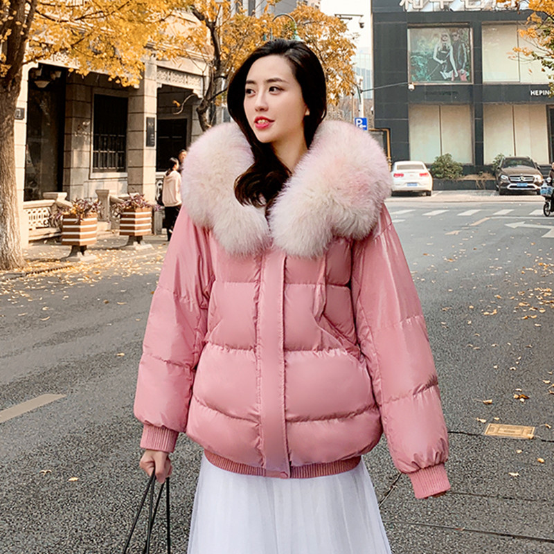 Winter Jacket Women White Duck Down Coats Female Short Down Parka Real Fur Collar Jackets Thick Warm Clothes 2020 LWL1338