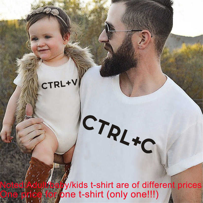 CTRL C Family Matching Tops Father Daughter Son Clothes Look Tshirt Dad And  Me Short Sleeves Funny Baby Outfits|Matching Family Outfits| - AliExpress
