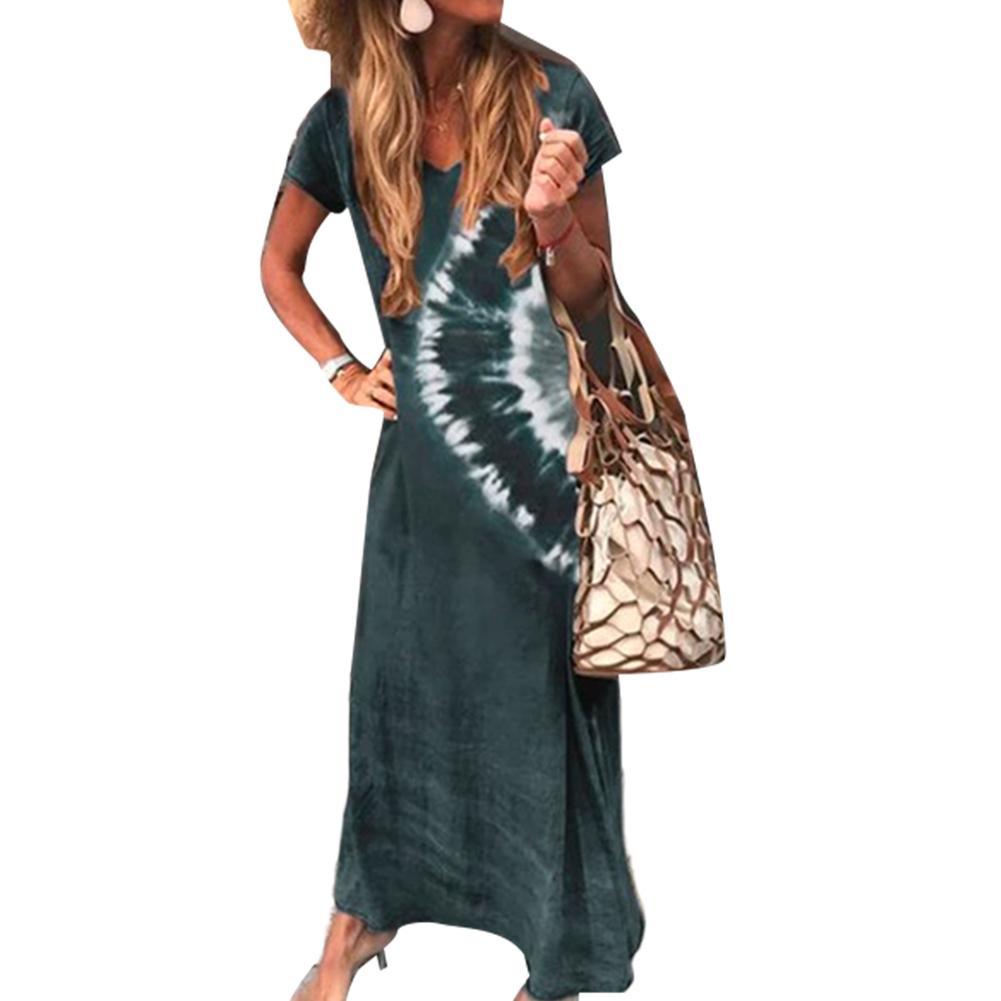 Dress Women Long Dresses Summer Women Casual V Neck Short Sleeve Glare Print Large Hem Beach Loose Long Dress Casual Dresses