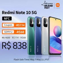 [Lançamento mundial Em estoque] Versão global Xiaomi Redmi Note 10 5G NFC Smartphone Dimensity 700 90Hz FHD+ Tela 48MP Câmera 5000mAh