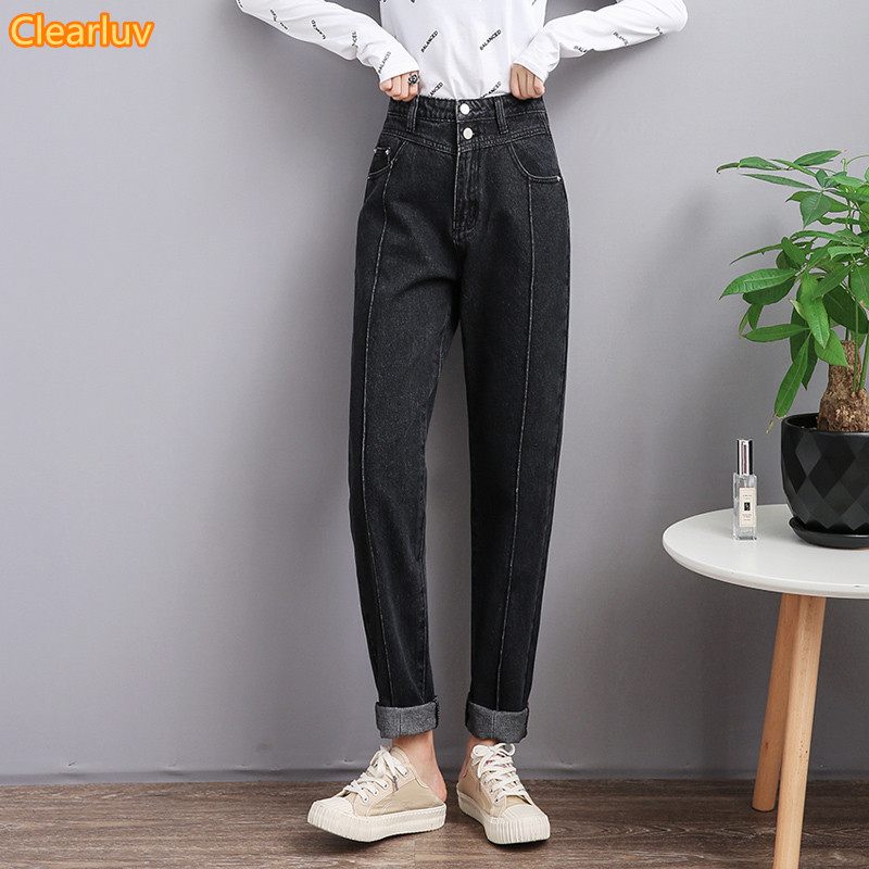 2020 Black Mom Jeans Women Vintage High Waist Jeans For Women Slim Stretch Denim Jean Woman 100% Cotton Made