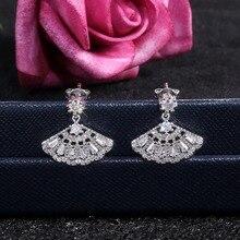earring jewelry earrings for women Fashionable jewelry Korean earrings Retro fan shaped earing female luxury women's earringE176