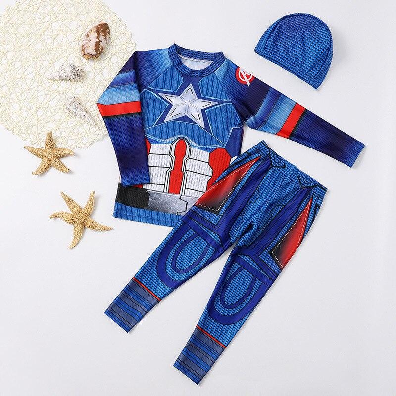 KID'S Swimwear BOY'S Swimming Trunks Big Boy Split Type Tour Bathing Suit Boy Cute Cartoon America Captain Baby Swimwear