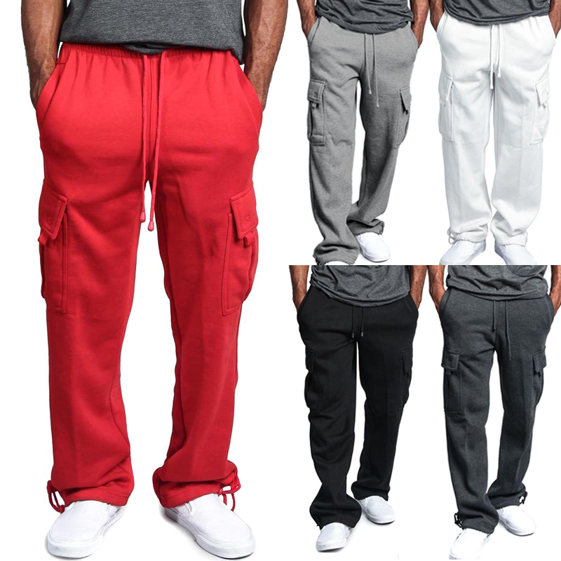 Newest Men Cargo Pockets Sweat Pants Casual Loose Trousers Solid Color Soft For Sports