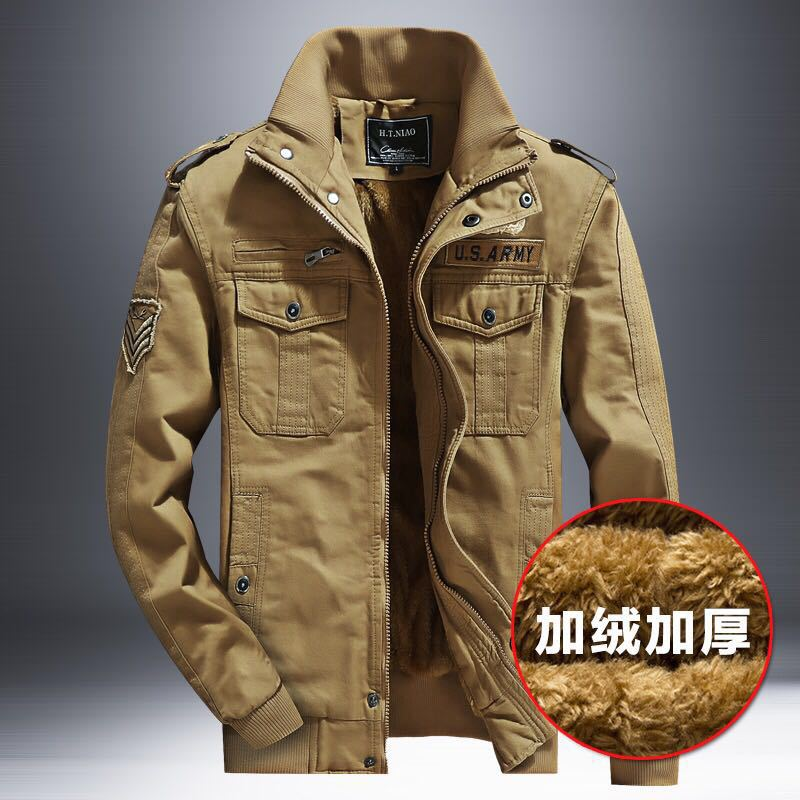 Winter Men Casual Brushed And Thick Military Uniform Coat Men's Pure Cotton Washing Outdoor Tooling Jacket Youth Loose-Fit
