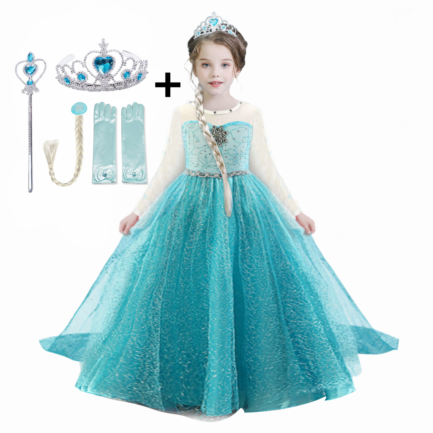 4-10T Girls Elsa Party Princess Dress Baby Girls Summer Elegant Long Sleeve Blue Dresses Birthday Party Fantasy Ball Anna Dress