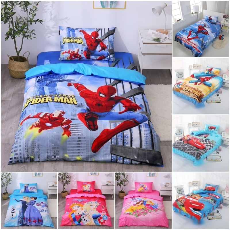 Disney Avengers Spiderman Iron Man Cotton Princess Frozen 2 Bedding Set Duvet Cover Pillowcases For Baby Kids Bed Birthday Gift