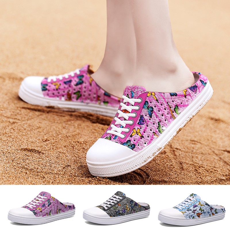 Women Fashion Clogs Flats Sandals Beach Hollow Shoes Travel Outdoor Leisure Garden Slippers