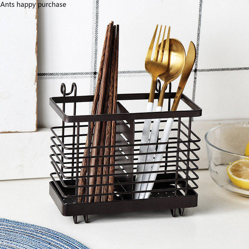 Household Iron Art Chopsticks Tube Wall Mounted Kitchen Racks Drain Chopsticks Rack Tableware Storage Rack Storage Rack