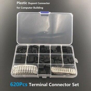 620Pcs 2.54mm Pitch JST SM 1 2 3 4 5 6 Pin Housing Connector Dupont Male Female Crimp Pins Adaptor Assortment Kit