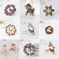 Набор модных рождественских брошей с Санта-Клаусом, костышками, лось, акриловые, снеговик, шляпа, Рождественская брошь, значки, Заколки для ж...